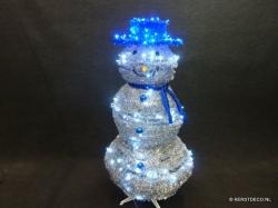 Snowman-in-a-box BLAUW en ZILVER